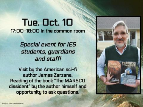 Visit by American sci-fi author James Zarzana
